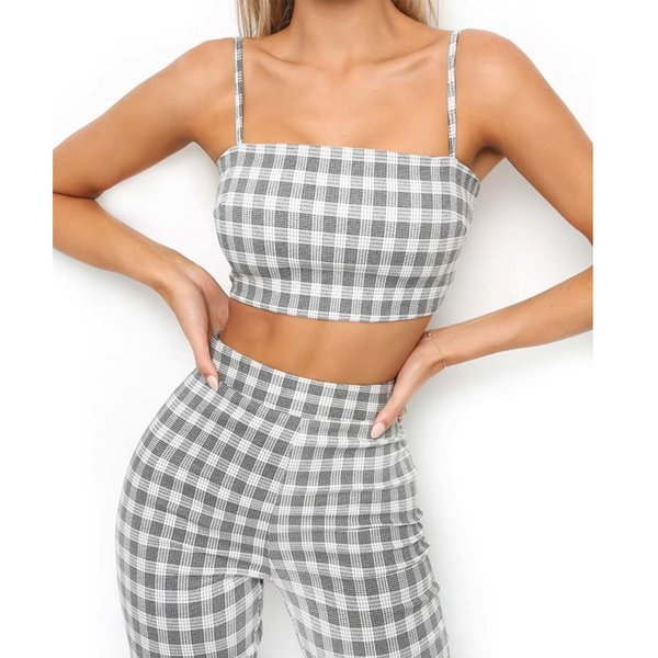 Sexy New Fashion Casual Women Ladies Pants Plaid Clubwear 2 piece set Summer Bodycon Party Pants Trousers