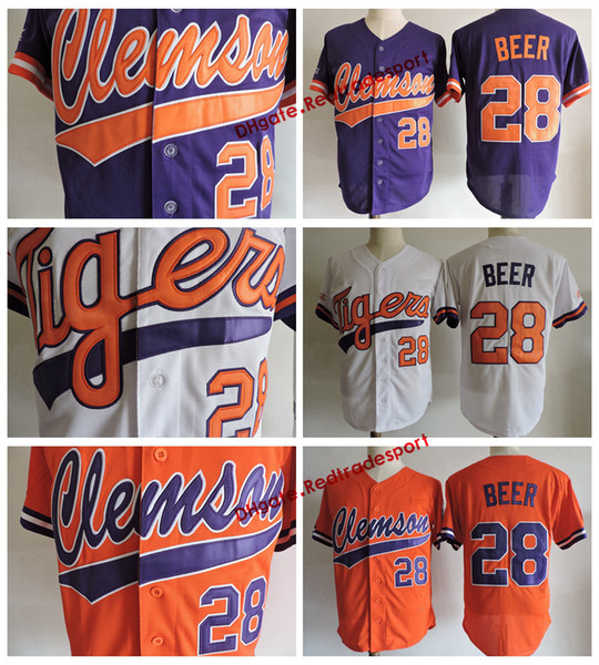 Mens Clemson Tigers Seth Beer College Baseball Jersey Cheap White Orange Purple 28 Seth Beer University Stitched Shirts