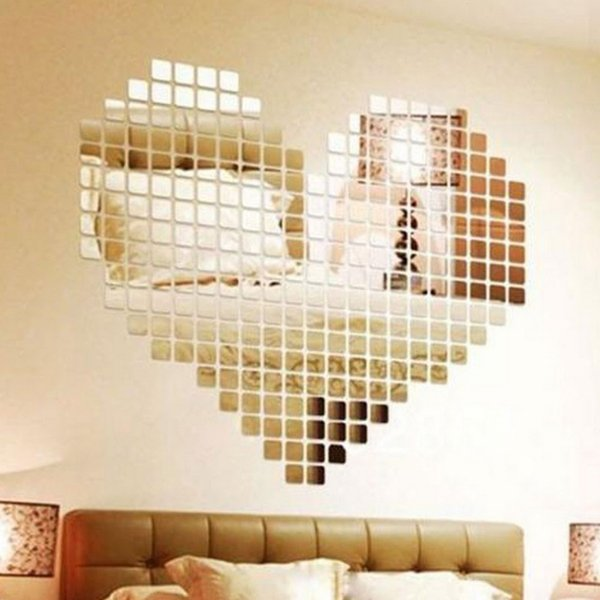 100 Pieces Mirror Tile Popular DIY Wall Sticker 3D Decal Mosaic House Home Room Decoration Stick For Modern Rooms Drop Shipping