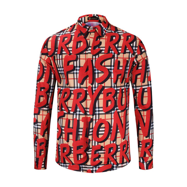 European station, new style cardigan shirt, men's fashion lattice, English alphabet, graffiti, casual fashion, hot money, long sleeved tide.