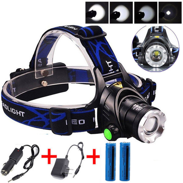 3800LM T6 Headight with Car Chagrer 3 Modes Tactical Cree XM-L Rechargeable T6 LED Headlamp+ 2x 18650 Battery + AC&Car Charger