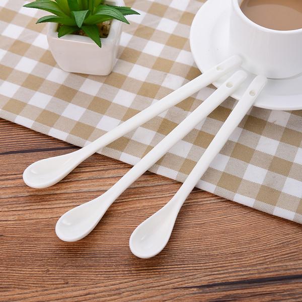 3Pcs/Set Long Handle Ceramic Spoons Coffee Ladle Dessert Ice Cream Spoon Lovely Tableware 2 Size Hot Sale