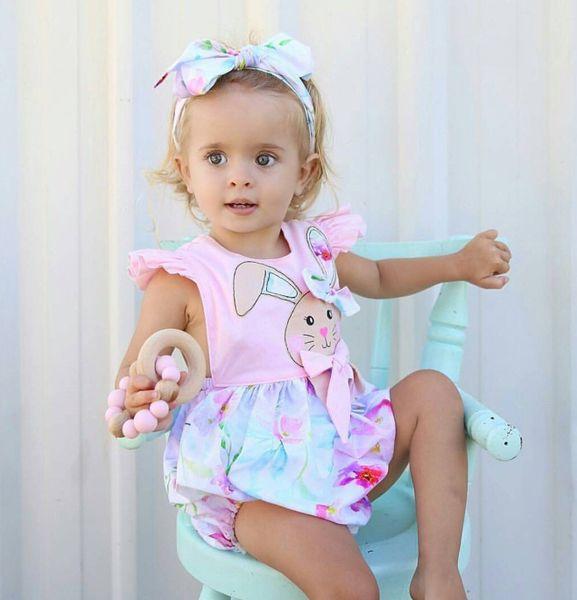 Newborn baby girl toddler rabbit flower romper jumpsuit headband outfit kid clothing girls lovely floral animal pink bodysuit sunsuit 0-24M