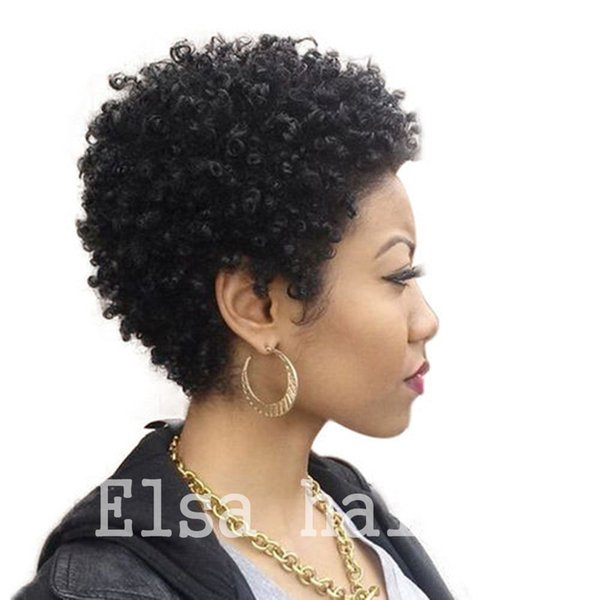 Hot Beauty Tight Afro Kinky Curly Celebrity Human Hair Wigs Brazilian Hair Celebrity Cheap Very Short Natural Black Human None Lace Guleless