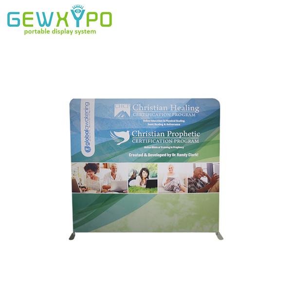 Exposição reta de Backwall da cabine da feira profissional de 8ft * 7.5ft, suporte de alumínio da bandeira fácil portátil da tela com impressão gráfica de cor completa