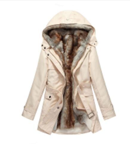 2c106a1b957 Hot! Faux Fur Lining Women's Fur Hoodies Ladies coats winter warm long coat  jacket cotton