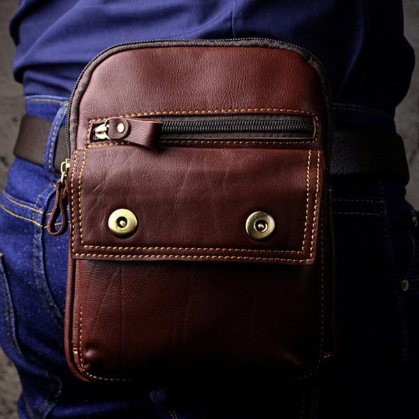 Echtes Leder Kleine Messenger Schultertasche Cell / Handytasche Tasche Hohe Qualität Öl Wachs Rindsleder Männer Hip Fanny Hüfttasche