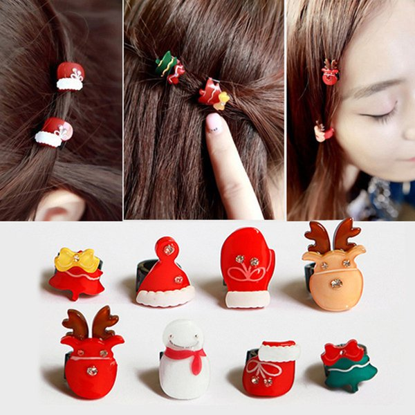 8 styles Cute Children Hair Clip New Merry Christmas Snowmen Tree Deer Mix Hairpins Small Claw Hair Accessories for Women Girl Gift