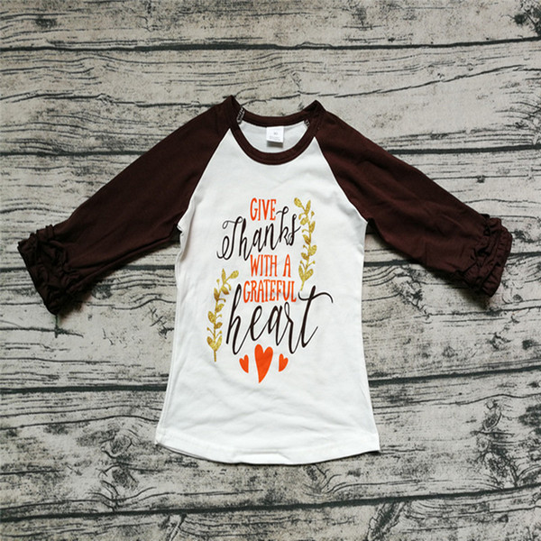 top popular Baby Girl Clothes Children Clothing Thanksgiving Raglans Letter Give Thanks With A Greatful Heart Printed Tops Kids Brown Sleeve Cotton Tees 2021