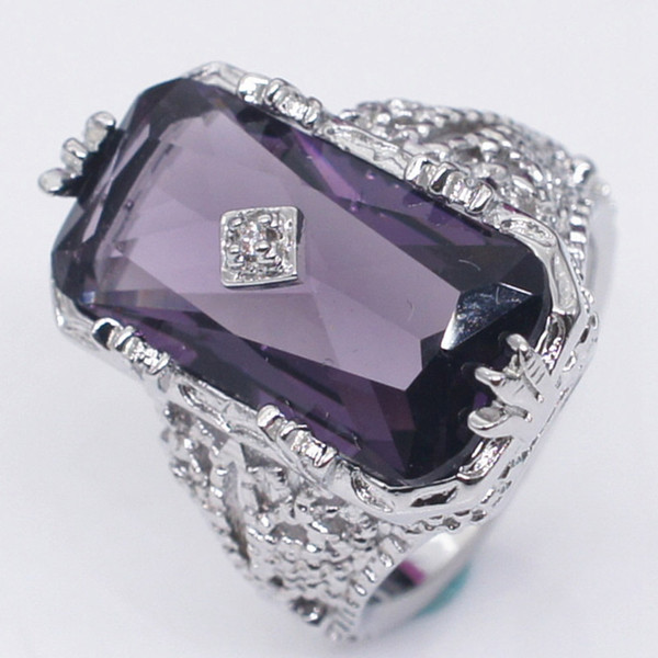 Big Rectangle Cubic Girl Rings Fashion Wedding Jewelry Female Engagement Ring For Women Crystal Purple Color Party New Gift