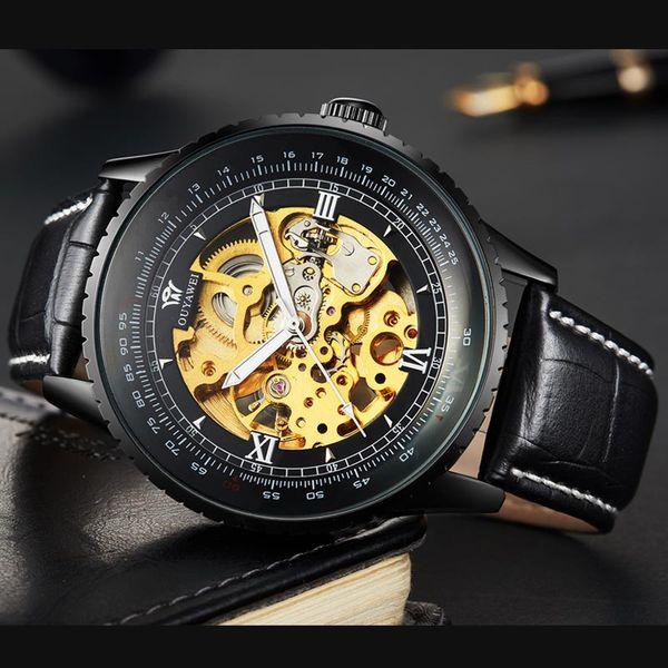 OUYAWEI Askeri Ordu Büyük Arama Mekanik İskelet İzle Saat Moda Marka Siyah Hakiki Deri Lüks Otomatik Saatler OYW1335