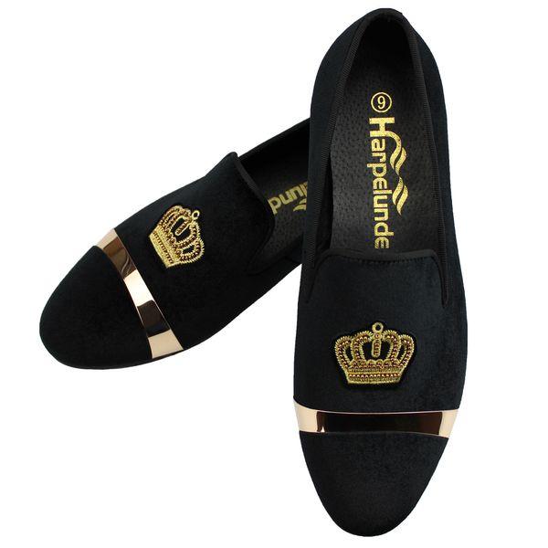 Harpelunde Crown Bullion Men Classic Wedding Schuhe Schwarzes Samtkleid Müßiggänger mit Goldplattengröße 6 bis 14