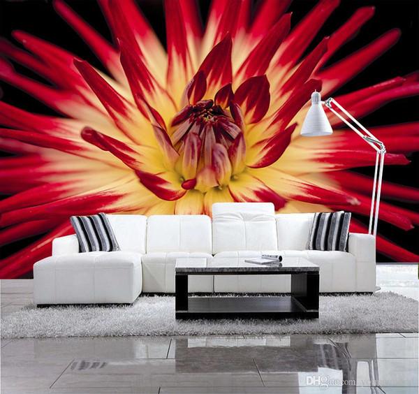 Personalizado 3D HD Photo Papel De Parede Moderna Flor Parede Mural Papel De Parede Sala de estar Sofá TV Fundo Não-tecido Decoração De Papel De Parede