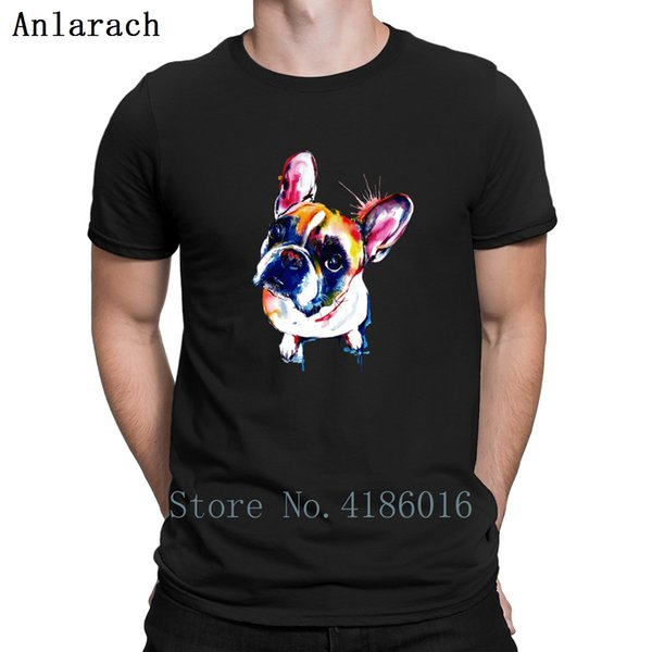 Colorful French Bulldog Tshirts Formal Humor Size S-3xl Anti-Wrinkle T Shirt For Men Summer Style Normal Slim
