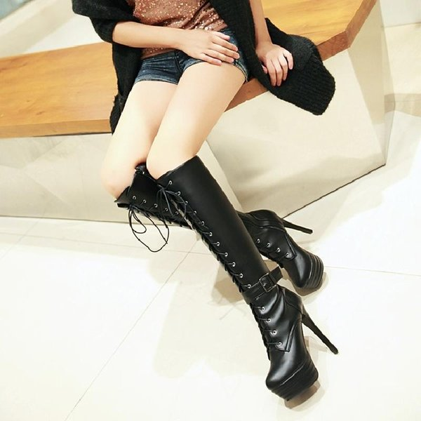 Winter fashion sexy night club platform Womens Shoes high heel knee Boots Knight Boots Round Toes Solid Martin Boots Buckle fast shipping