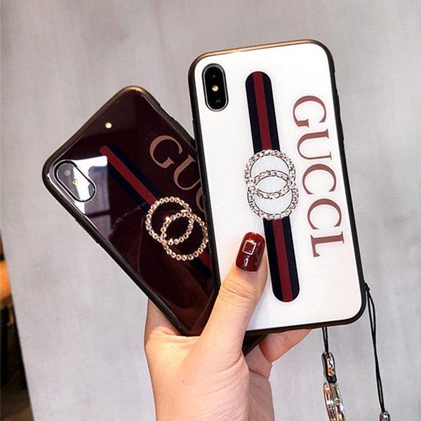 Nuevas damas de lujo caja del teléfono de silicona de moda cáscara de cristal rhinestone lanyard iphone case para iphone x case 6 7 8 plus cajas del teléfono celular