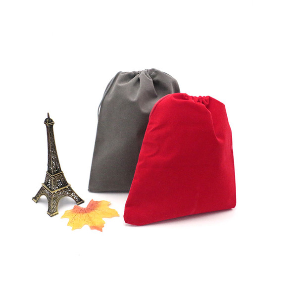 Fashion 17*23cm Drawstring Pouches 100PCS/lot Jewelry Package Christmas Holiday Wedding Gift Bag Red Black Gray 3colors