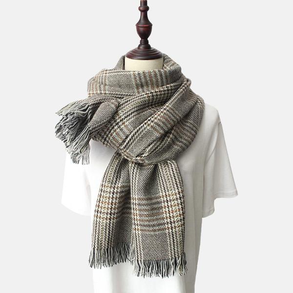 2018 новые женские осенние и зимние шарфы утолщенные теплые женские шарф в клетку спички двойного назначения шаль на ломаную клетку искусственный кашемир горячий