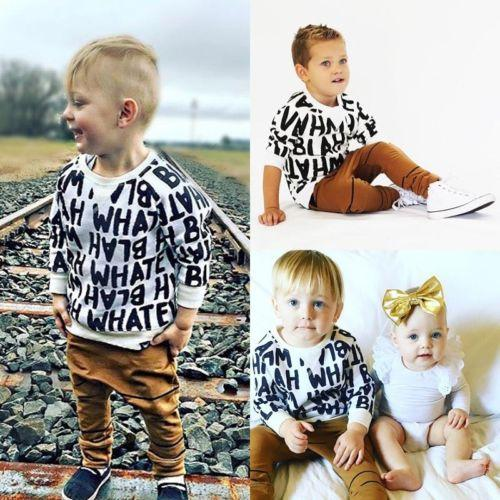 Spring&Fall New Fashion Toddler Boys Letter Long Sleeve T-shirt Tops Long Pants Kids Casual 2Pcs Outfits Set Clothes Hot Sale