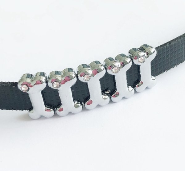 10PCs One Rhinestone 8MM Dog Bone Slide Charms Beads DIY Accessories Fit 8mm Pet Collar Belts Bracelets