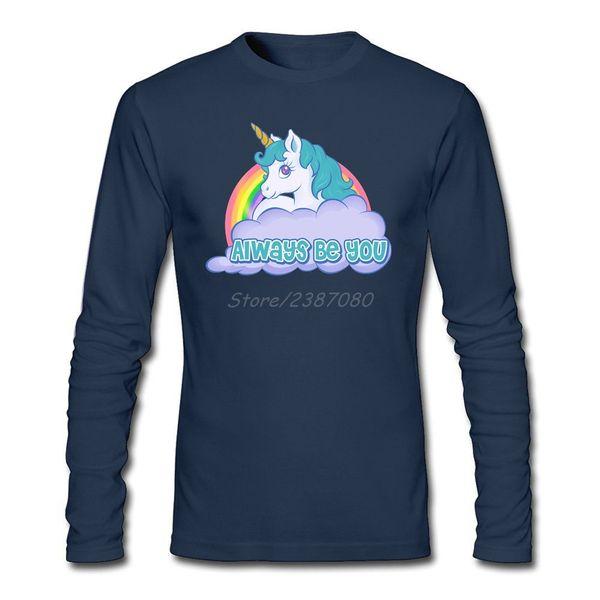 Always Be You Unicorn T Shirt Custom Long Sleeve Mens T Shirts Fashion 2017 Summer Plain O-neck Cotton Men Shirts