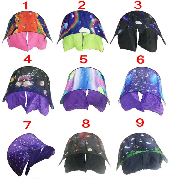 9 Colors 80*230cm Kids Dream Tents for Baby bed Folding Starry Space dream Moon White Clouds Cartoon mosquito Net without night light
