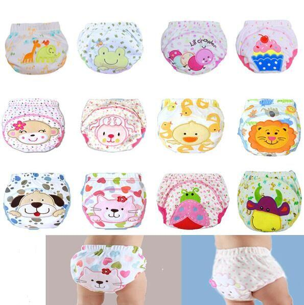 Cute Baby Cotton Training Pants Baby Reusable Diapers Cloth Diaper Washable Infants Nappies Diapers 12 kinds 2Pcs