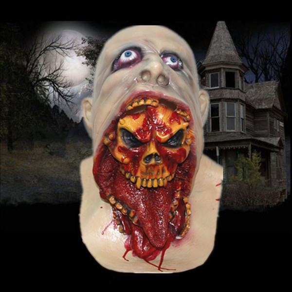 Latex Trick Costume Bloody Zombie Mask Face Melting Walking Dead Halloween Scary Cosplay Party Ball Props