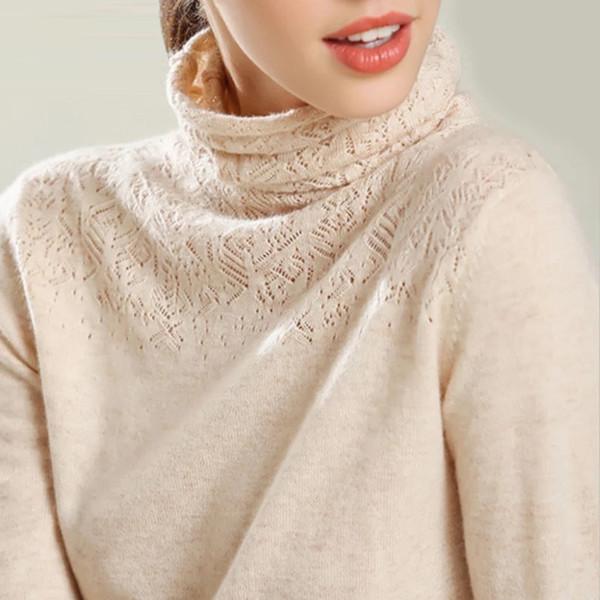 GejasAinyu2018AutumnWinter New Cashmere Pullover Winter Kleidung Frauen Rollkragen Pullover Hollow Frauen Pullover Pullover stricken