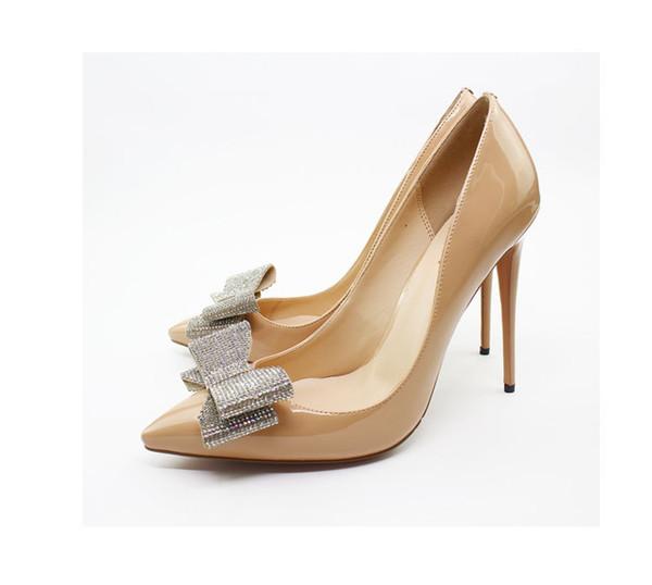 Customize brand designer elegant lady banquet single shoes patent leather rhinestone bowties red bottom 12cm high heel dress shoes