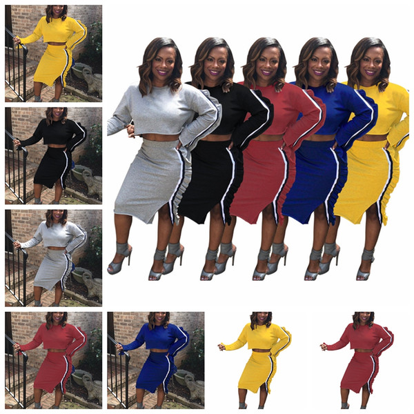 European spring and autumn fashion solid color round neck long-sleeved wooden ear T-shirt skirt suit. Support mixed batch