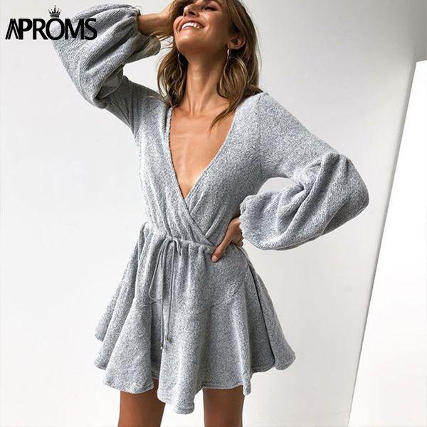 Aproms Elegant Latern Sleeve Knitting Sweater Dress Women Sexy Deep V Neck Winter Dress Streetwear Loose White Autumn 2018