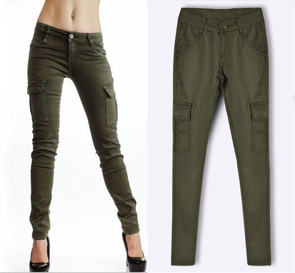Pantaloni cargo militari da donna Pantaloni a vita bassa a vita bassa sottili stretch verde militare pantaloni casual da jogging Pantaloni sportivi
