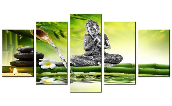 Amosi Art 5 Piezas Lienzo Arte de La Pared Estatua de Buda Pintura Impresión Orquídea Fondo de Bambú Lienzo Pintura para la Decoración Casera Estirada y Enmarcada