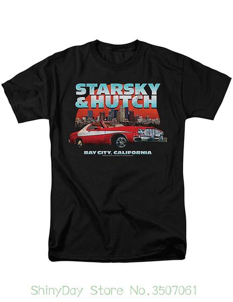 Camisa dos homens T Novidade O-pescoço Tops Starsky E Hutch Bay City Preto T-shirt, 70 s Detetive Series