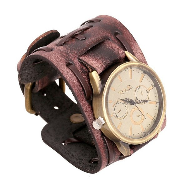 Retro Mens Woven Wide Strap Leather Cuff Bracelet Watch Punk Brown & Black Copper Locking Bangle Wristband Adjustable Jewelry Gifts for men