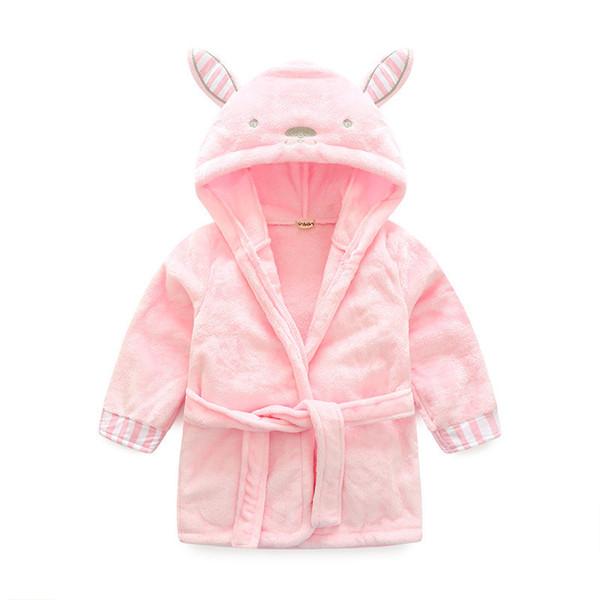 Children Girls Robes Kids Baby Clothes Flannel Bathrobes Cute Rabbit Warm Nightgown Child Animal Sleepwear Baby Girls Pajamas
