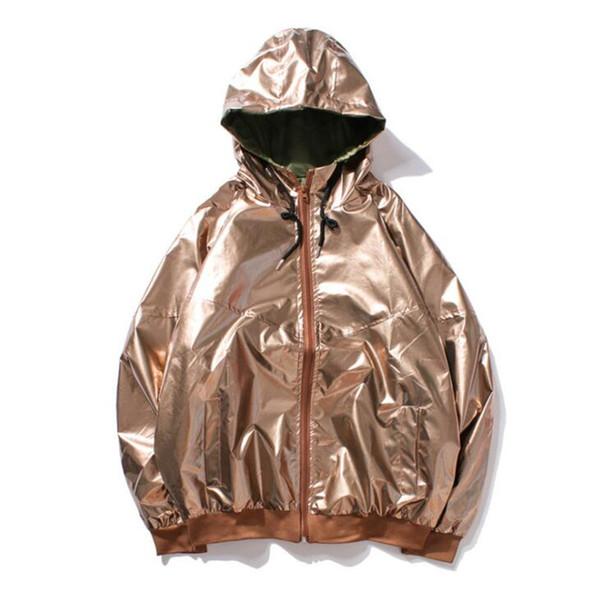 Brand Mens Windbreaker Jackets Hip Pop B-Boy Silver Glossy Hooded Jacket for Men Streetwear Bomber Jacket Male Female
