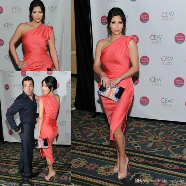 Couleur corail Celebrity Kim Kardashian Robe de soirée une épaule Tapis rouge Robe de soirée courte