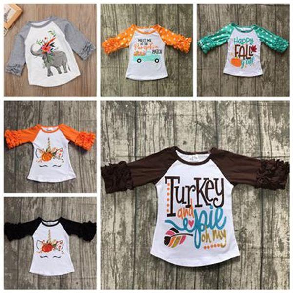 2018 spring fall girls ruffled sleeve tshirt baby elephant floral t shirt cotton shirt ruffle raglan tshirts tops unicorn kids clothing dot