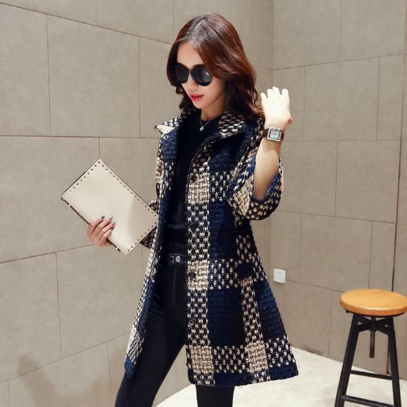 Elegant Women Fall Winter Cotton & Cotton Blend checks Long Sleeve Large lapel Single Breasted shift Long Duffle Coats