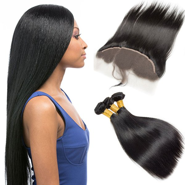 New Arrival 4 Pcs Brazilian Straight Hair Bundles With 1 Pc Frontal Natural Black Mink Hair Weave Unprocessed Cheap Hair Weaves Extensions