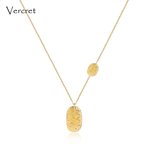 Vercret simple 925 sterling silver hammered pendent necklace 18k gold chain necklace handmade women's jewelry gift Y1892806