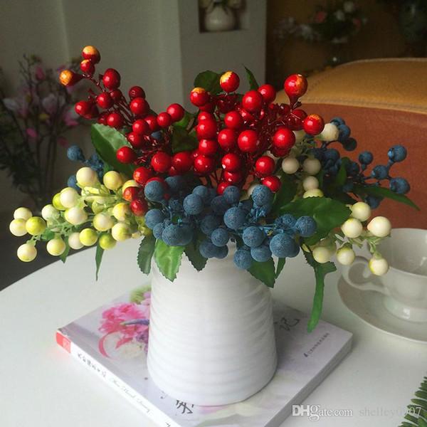 1 PC Blueberry Fruit Baga decorativo fiore di seta artificiale per la decorazione di nozze o casa natale 4 core, pianta artificiale