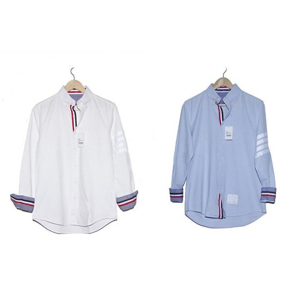 Autumn new men and women couple models red white and blue striped shirt oxford long-sleeved classic shirt