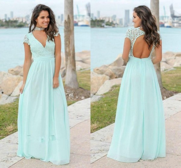 2019 Mint Green Bridesmaid Dresses Lace Tops Chiffon A Line Hollow Open Back V Neck Cheap Maid of Honor Dresses for Weddings