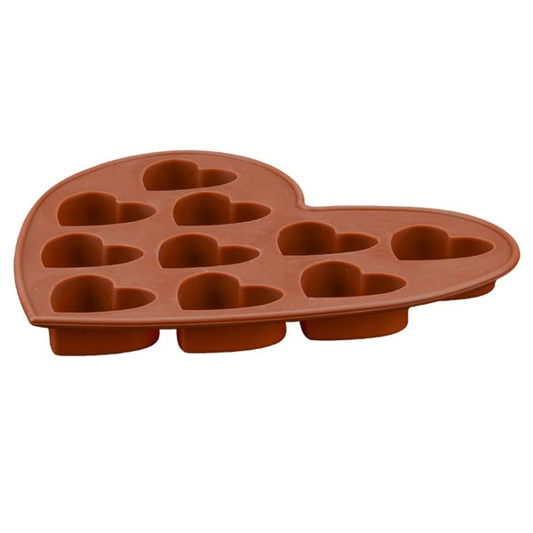 15.6 * 14 * 2.4CM 100 Piece DIY 10 HOLE Heart-shaped Silica Gel DIY Handmade Cake Molds Silicone Chocolate Mold (Brown) JSC164