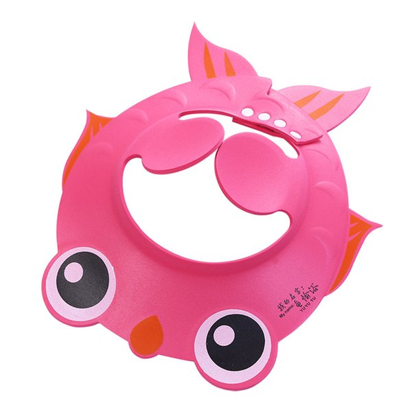 Goldfish Pattern Baby Adjustable Shampoo Shower Bathing Protect Cap Wash Hair Shield Hat With Ear Protection Pads