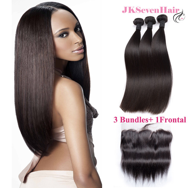 8A Grade India Straight Human Hair Bundles 3 PCS With 13x4Inch Lace Frontal Malaysian Peruvian Vietnamese Hair Wefts With PrePlucked Frontal