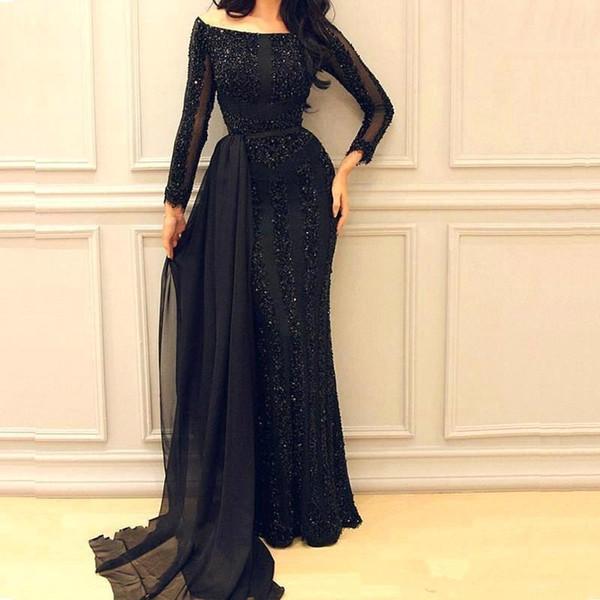 Black Arabic Mermaid Long Evening Dresses 2018 Long Sleeves Chiffon Sequins Beaded Formal Floor Length Prom Dresses BC0050